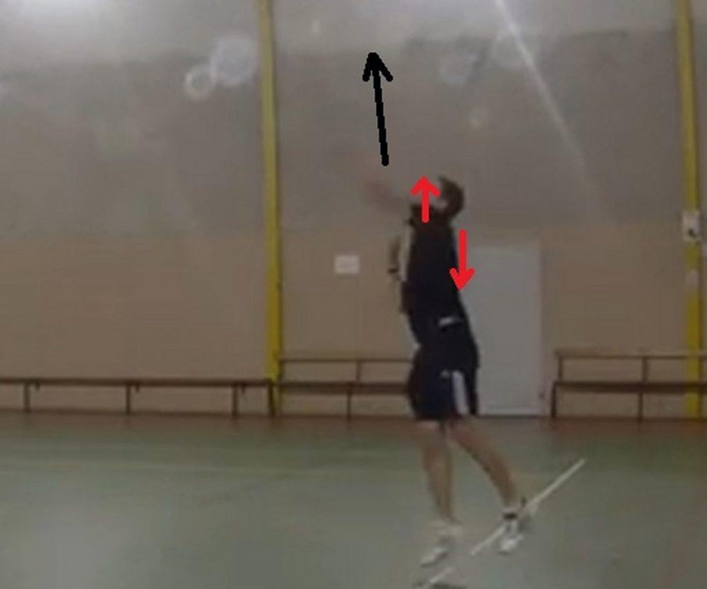 La bascule des épaules : je monte l'épaule droite en lançant la balle et la descent quand je remonte la gauche.
